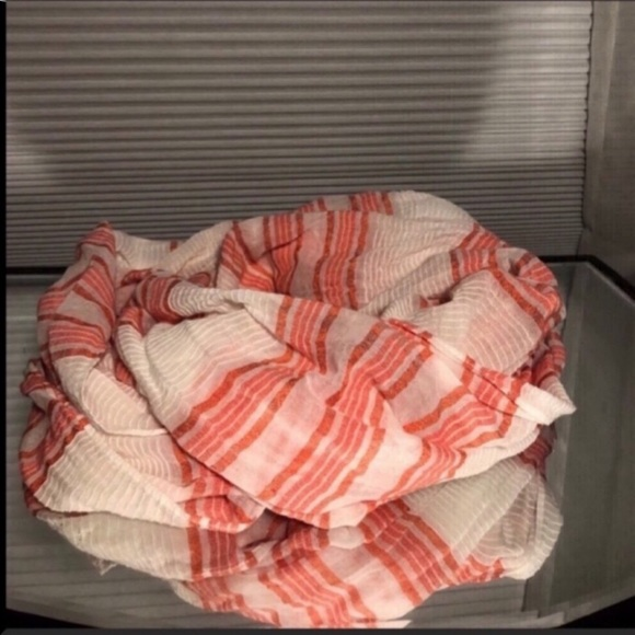 American Eagle Pink & White Striped Infinity Scarf